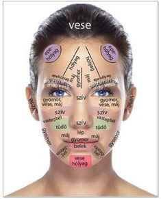 Melyek ezek a figyelmeztető jelek? Homlok: A homlok középső területén megjelenő pattanások emésztési problémákat jeleznek, mivel ez a terület a kiválasztó szervekhez (epehólyag, hólyag, máj, gyomor) Acupressure Treatment, Acupressure Points, Acupuncture Points, Gesicht Mapping, Face Mapping, Acne Causes, The Face, Body Organs, Acne Treatment