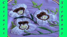 Bordado fantasía Y en ojal  flores con caritas de chango Parte #2