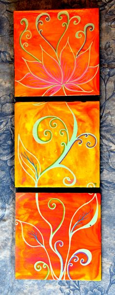 """Growing Lotus"" 3 piece acrylic on wood panel - $90.00 http://artcaffeine.imobileappsys.com"