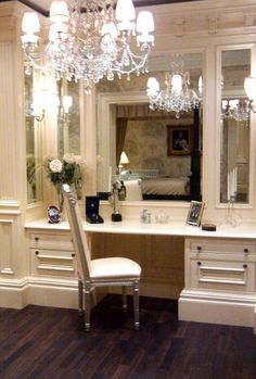 would love to have this kind of dressing table space in my closet.-Clive Christian Interiors