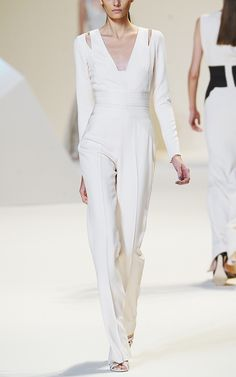 Last chance! Elie Saab Vanilla Stretch Cady Jumpsuit at Moda Operandi