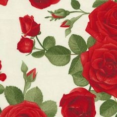 "Timeless Treasures Glamour Large Red Roses by Chong-A Hwang - Listing is for 1 Yard 36""x44""  - FM by FabricCloseouts on Etsy"