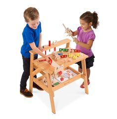 Melissa & Doug Wooden Project Solid Wood Workbench (Sturdy Wooden Construction, Storage Shelf, H × W x L, Great Gift for Girls and Boys - Best for and 6 Year Olds) Workbench Plans Diy, Tool Rack, American Academy Of Pediatrics, Project Free, Melissa & Doug, Tool Belt, Wooden Projects, Diy Garage, Free Fun