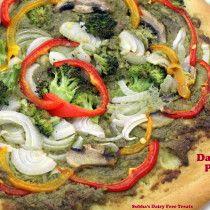 Dairy free (vegan) pizza with pesto sauce