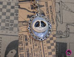 Jack Skellington Silver Polymer Clay Cameo Necklace, Glow-in the-Dark, Nightmare Before Christmas - Skull Cameo on Sliver Metal Chain by Skullaby on Etsy Cameo Necklace, Pendant Necklace, Jack Skellington, Metal Chain, Nightmare Before Christmas, Handmade Crafts, Jewelry Crafts, Polymer Clay, Glow