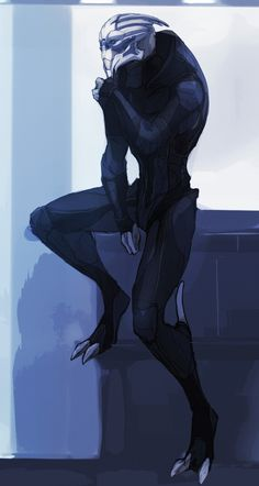 """relay314: """" Garrus chilling in Shepard's cabin in his undersuit! Done for a fantastic friend. Cabin would belong to Neil Shepard!"""