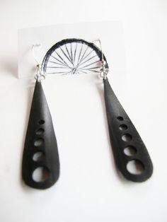 Dragonfly Wing Earrings - Recycled Jewelry - bicycle - bike - innertubes -black via Etsy