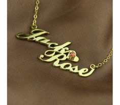 Gold Plated Silver Two Carrie Name Style Name Necklace with Birthstone CL58