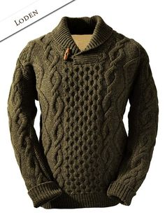 Authentic Irish Fisherman Sweaters | 03 Aran Shawl Neck Fisherman Sweater - Loden
