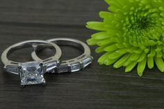 3.10 CT Princess Cut Engagement Ring with Marquise by Zhedora