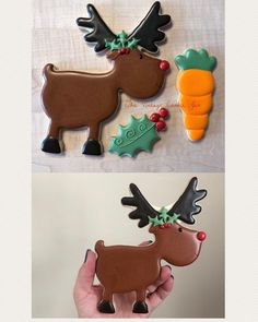 Rudolf Cookie Set. #rudolf #christmascookies #christmas #holidaycookies #ottawaeats #ottawabaker #ottawacustomcookies #ottawafoodies #ottawachristmas #ilovesugarcookies #sugarcookies #sugarart #customcookies #customsugarcookies #decoratedcookies #edibleart #royalicing #613eats #reindeer #reindeercookies
