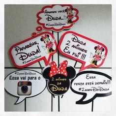 Plaquinhas divertidas personalizadas para a festa da Duda! #plaquinhas #plaquinhasdivertidas #Minnie #personalizados #loja #ratchimbum #novaodessa