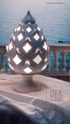 Lampada terracotta PIGNA tornita a mano luce di ApuliaAmbiance