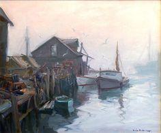 """Gloucester Fog,"" Emile A. Gruppé, oil on canvas, 25 x 30"", Pocock Fine Art & Antiques."