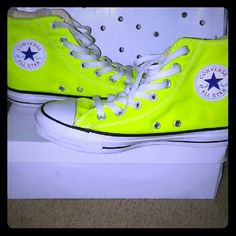 Bright Neon Yellow High Top Converses Neon Converse Shoes 906d2011a