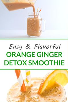 This bright and refreshing orange ginger detox smoothie is filled with bright citrus, fresh ginger, and flax seeds. The perfect on-the-go healthy breakfast or snack recipe! Fruit Smoothie Recipes, Easy Smoothies, Healthy Breakfast Recipes, Snack Recipes, Snacks, Ginger Detox, Lemon Bowl, Fresh Ginger, Detox Drinks