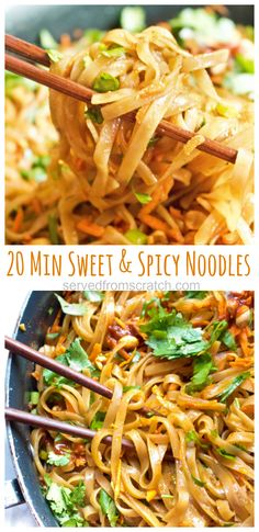 These Sweet and Spicy Noodles are a Thai inspired fast easy weeknight dinner that can be ready and on the table in just 20 minutes thainoodles asian recipes sweetandspicy Side Dish Recipes, Easy Dinner Recipes, Easy Noodle Recipes, Fast Easy Dinner, Best Dinner Recipes Ever, Easy Thai Recipes, Supper Recipes, Vegetarian Recipes, Cooking Recipes
