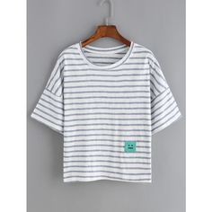 Dropped Shoulder Seam Striped Patch T-shirt ($7.99) ❤ liked on Polyvore featuring tops, t-shirts, multicolor, multi color t shirts, colorful tops, short sleeve tops, stretchy tops and stripe tee