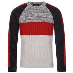 Dolce & Gabbana Color Block Wool Jumper (7,505 EGP) ❤ liked on Polyvore featuring men's fashion, men's clothing, men's sweaters, mens wool sweaters, mens short sleeve sweater and mens striped sweater