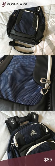 """☁️ Adidas Backpack ☁️ New w/o tags. Never used. Has a rugged construction that's durable and spacious enough for a weekend trip. The 17"""" padded pocket gives you a place to stow your laptop, while a cooler pocket helps your snacks stay chilled. LOADSPRING shoulder straps, to absorb the shock, so your back don't have to, & let you haul everything in comfort. Carry handle, Padded back panel, HYDROSHIELD water-resistant base helps keep your gear dry. Measures: 19"""" x 15"""" x 12""""Navy, blue, black…"""