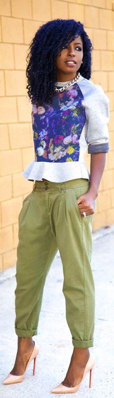 Floral Print Peplum Sweatshirt + Pegged Khaki Pants by Style Pantry