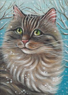 Maine Coon Cat - Winter Painting