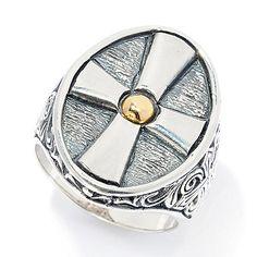 152-184 - Artisan Silver by Samuel B. Men's 18K Gold Accented Elongated Cross Ring