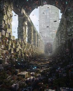 Eternal by Annibale Siconolfi | Inward : ImaginaryCityscapes Fantasy City, Fantasy Places, Sci Fi Fantasy, Fantasy World, City Landscape, Fantasy Landscape, Urban Landscape, Landscape Concept, Futuristic City