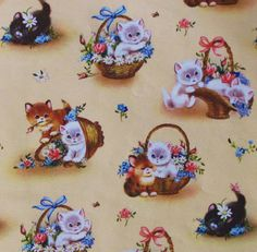 Vintage Occasional Wrapping Paper Gift Wrap Norcross KITTENS and FLOWERS 1950s