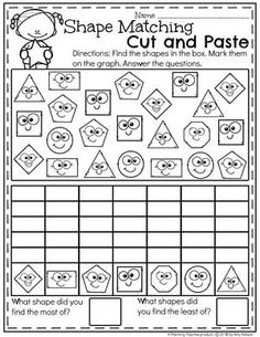 Looking for awesome shapes worksheets and games to use in your classroom? This and Shapes - Kindergarten Math Unit is filled with hands-on activities and no-prep worksheets to help children learn about and use shapes. Shapes Worksheet Kindergarten, Graphing Activities, Shapes Worksheets, Kindergarten Math Activities, Kindergarten Worksheets, Preschool Activities, Numeracy, Math For Kids, Math Lessons