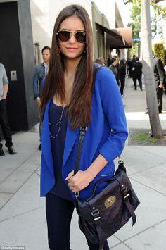 Nina Dobrev wears our Wilfred Chevalier blazer well. plus I love love love the bag!