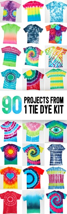 Make up to 90 shirts with this epic tie dye kit filled to max with Tulip One-Step Tie Dye, aprons, gloves, rubber bands, and instruction guide. Make all these tie dye patterns and techniques for shir (Diy Shirts Summer) Diy Tie Dye Shirts, Diy Shirt, Tee Shirt Crafts, Tye Die Shirts, Nice Shirts, Summer Crafts, Summer Fun, Tie Dye Party, Tie Dye Kit