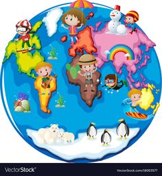 Children in different parts of the world illustration Preschool Decor, Preschool Activities, Whale Crafts, Mickey Mouse Toys, Continents And Oceans, World Map Wallpaper, Puppets For Kids, School Frame, Transportation Theme