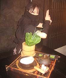 Ninja restaurant! http://www.ninjaakasaka.com/sp_notice.html.  A featureless black doorway in Tokyo's Akasake-Mitsuke business district leads to a maze of cave-like corridors. Soon you're greeted by a ninja and given a secret password. Watch out for the disintegrating bridge! The food is spectacular modern Japanese