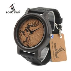 Fair price BOBO BIRD N04 N05 N06 Ebony Wooden Watches Elk Wolf Head Luxury Black Cool Quartz Male Watch with Leather Band in Gift Box just only $19.13 with free shipping worldwide  #menwatches Plese click on picture to see our special price for you