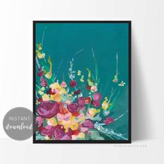 This TEAL SPRING Print was created from an original acrylic painting by Kendra Castillo. This print adds life and color to your walls instantly! The beautiful texture of the original painting is highlighted in this print. INSTANT DOWNLOAD Plant Painting, Floral Artwork, Kids Room Art, Beautiful Textures, Abstract Flowers, Printable Art, Pink Flowers, Wall Art Prints, Original Paintings