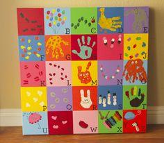 School Auction project for Kellen's Jr. K class - fingerprint/handprint alphabet