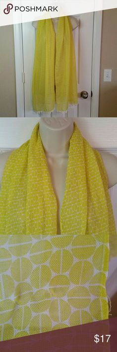 Fossil Yellow Crochet Floral Geometric Scarf Fashion scarf  Has snags and loose threads.  Shown in pictures. Fossil Accessories Scarves & Wraps
