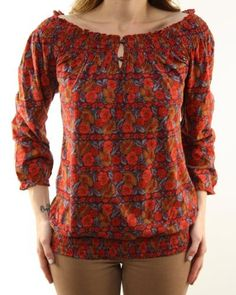 Lucky Brand Jeans Floral Print Long Sleeve Blouse Red 7W60960-RMT/640 Lucky Brand. $62.98