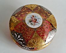 Bohemian Cranberry Moser Glass Enamelled Art Glass Trinket Hinged Box