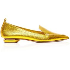 Nicholas Kirkwood Bottalato Beya Loafer ($425) ❤ liked on Polyvore featuring shoes, loafers, genuine leather shoes, loafers & moccasins, real leather shoes, metallic leather shoes and metallic loafers