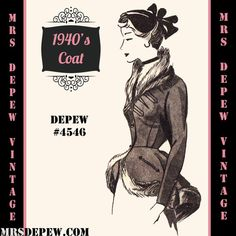 Vintage Sewing Pattern 1940's Peplum Jacket in Any Size # 4546 Draft at Home Pattern - PLUS Size Included -INSTANT DOWNLOAD-