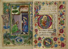 The Annunciation and Initial D: The Virgin and Child from Gualenghi-d'Este Hours, Taddeo Crivelli (left) and Guglielmo Giraldi (right), about 1469. The J. Paul Getty Museum, Ms. Ludwig IX 13, fols. 3v-4