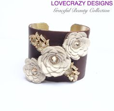 Leather Cuff Cuff Bracelet Cuff Vintage by LoveCrazyDesigns