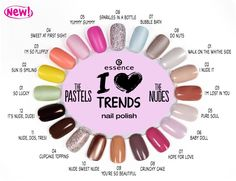 "hi beauties, this #manimonday, we're presenting the 20 new ""i ""heart""-Emoticon trends"" nail polishes!  ""the pastels"" are sure to lift your mood! the eight candy colours with a semi-matt finish are simply gorgeous ""heart""-Emoticon  ""the nudes"" offer a choice of 12 wearable shades - you're guaranteed to find the perfect match for your skin tone.  which ""i ""heart""-Emoticon trends"" nail polishes have captured your heart?  #essence #cosmetics #essenceupdate #ilovetrends #ilovenude #thepastels"
