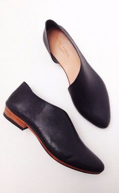 The Sandy BVT~ Handmade to Order~ Black Classic Leather flats with low heel