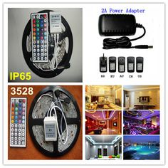 Dropship 3528 led strip 5m RGB Light 300 60leds/m waterproof led string Lighting + 44keys control + 12V 2A 24W Power CE RoHS $17.78