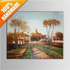 Hand Painted Village Landscape Frameless Oil Painting on Canvas Oil Painting On Canvas, Hand Painted, Landscape, Handmade, Art, Scenery, Hand Made, Landscape Paintings, Craft