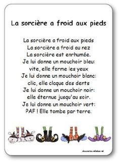 The poetry of the witch who has cold feet Illustrated poetry The witch who has cold feet Halloween Poems, Halloween Activities, French Language Lessons, French Lessons, French Poems, Bricolage Halloween, French Class, Teaching French, Kids Songs