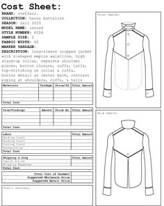 garment costing sheet - Google Search
